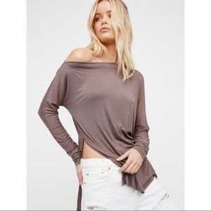 FP We The Free Luna Taupe Slouchy Boat Neck Top